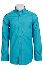 Ariat® Men's L/S Halton Turquoise Western Plaid Shirt 10010594