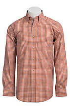 Ariat® Men's L/S Jameson Orange Western Plaid Shirt 10010600