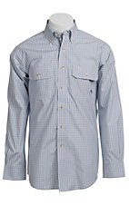 Ariat® Men's L/S Bartol White & Blue Two Pocket Western Plaid Shirt 10010614