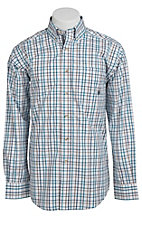 Ariat® Men's L/S Devon White & Blue Western Plaid Shirt