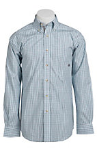 Ariat® Men's L/S Durant White & Turquoise Western Plaid Shirt 10010628