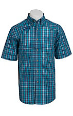 Ariat® Men's S/S Dietrich Blue Western Plaid Shirt 10010639