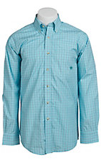 Ariat® Men's L/S Duggan Turquoise Western Plaid Shirt 10010643