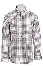 Ariat® Men's L/S Halpern White & Brown Western Plaid Shirt 10010649