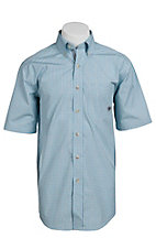 Ariat® Men's S/S Gabe Turquoise & Brown Western Plaid Shirt 10010662