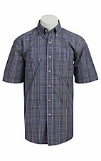 Ariat® Men's S/S Bancroft Steel Blue Western Plaid 10010670