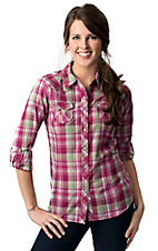 Ariat® Women's Inger Pink and Green Plaid with Lurex Long Sleeve Western Shirt
