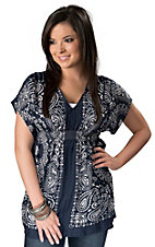 Ariat® Women's Navy Blue Bandana Print Short Sleeve Fashion Top