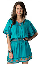 Ariat® Women's Bluebird Blue Aztec Embroidered and Smocked Short Sleeve Dress