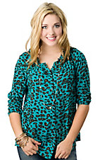 Ariat® Women's Turquoise Leopard Print Button Down 3/4 Sleeve Fashion Top