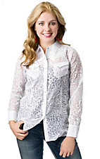 Angie® Women's White Animal Burnout Long Sleeve Western Shirt