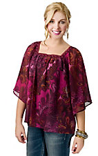 Ariat® Women's Libby Pink and Maroon Paisley with Lace Trim Sheer 3/4 Sleeve Fashion Top