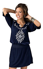 Ariat® Women's Cassie Navy with White Embroidered and Smocked Waistband 3/4 Sleeve Dress