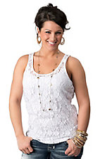 Ariat® Women's White Lace Sleeveless Tank Fashion Top