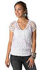 Ariat® Women's White Lace Short Sleeve Fashion Top