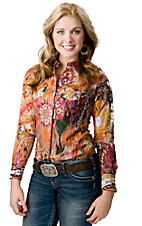 Ariat® Women's Pink and Orange Floral Print Long Sleeve Western Shirt