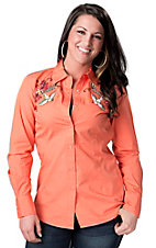Ariat® Women's Coral Cantina Fitted Bird and Floral Embroidery Long Sleeve Western Shirt