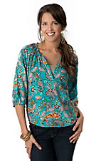 Ariat® Women's Susie Turquoise with Floral Paisley Print 3/4 Sleeve Fashion Top