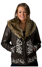 Ariat® Women's Abyss Espresso Brown with Embroidery and Faux Fur Jacket