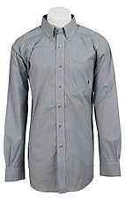 Ariat Men's L/S Fowler Green & Grey Western Mini Check Shirt 10011175