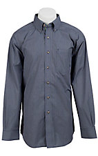 Ariat Men's L/S Monte Navy Western Plaid Shirt 10011179