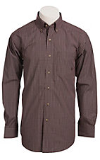 Ariat Men's L/S Jack Mulled Wine Western Mini Check Shirt 10011400