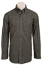Ariat Men's L/S Cocoa Blue Western Plaid Shirt 10011417