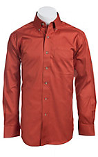 Ariat Mens L/S Solid North Fire Orange Shirt 10011455