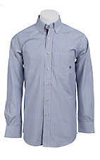 Ariat Men's L/S Gates White, Black and Navy Striped Western Shirt 10011460