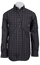 Ariat Men's L/S Lucca Black Western Plaid Shirt 10011473