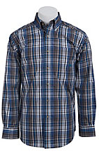 Ariat Men's L/S Dustin Charcoal, Blue and Lavender Western Plaid Shirt 10011405