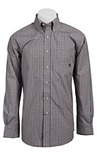 Ariat Men's L/S Biggs Tan and Blue Western Plaid Shirt 10011547