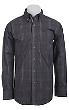 Ariat Men's L/S Dale Charcoal Grey, Blue and Purple Western Plaid Shirt 10011550
