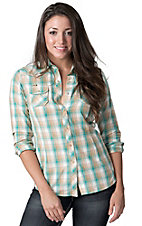 Ariat® Women's Teal, Cream and Brown with Cross and Studs Long Sleeve Western Shirt