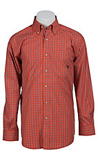Ariat Men's L/S Fairfax Orange Western Plaid Shirt 10012179