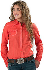 Ariat� Women's Jenna Hot Coral with Turquoise and White Embroidery Long Sleeve Western Shirt