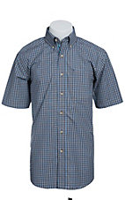 Ariat Men's S/S Canto Cocoa Blue Western Plaid Shirt 10012277