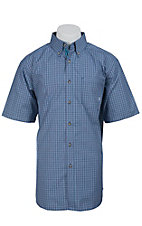 Ariat Men's S/S Sherman Blue Western Plaid Shirt 10012327