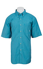 Ariat Men's S/S Oaks Tidal Blue Western Plaid Shirt 10012328