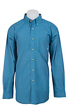 Ariat Men's L/S Toby Blue Western Plaid Shirt 10012359