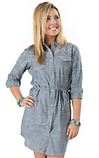 Ariat Women's Tehama Light Chambray Denim with Retro Embroidery Long Sleeve Dress Shirt