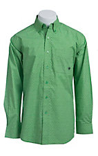 Ariat Men's L/S Fortuna Green Western Print Shirt 10012397