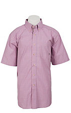Ariat Men's L/S Vance Pink Western Plaid Shirt 10012418