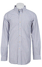 Ariat Men's L/S Saratoga White Western Plaid Shirt 10012429