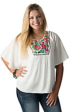 Ariat Women's White Siera with Multicolor Floral Embroidery Short Sleeve Top