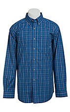 Ariat Men's L/S Keating Blue Western Plaid Shirt 10012360