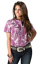Ariat Women's Julia Purple and Pink Paisley Short Sleeve Western Shirt