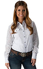 Ariat Women's Cee Cee White Burnout Long Sleeve Western Shirt