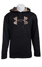 Under Armour Mens Black with Camo Logo Fleece Tackle Twill Storm Hoodie 1004429006