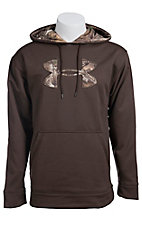 Under Armour Mens Brown with Camo Logo Fleece Tackle Twill Storm Hoodie 1004429247